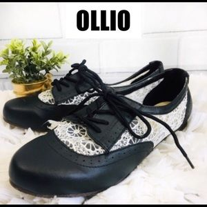 Ollio Womens Classic Lace Up Low Flat Heel Oxford